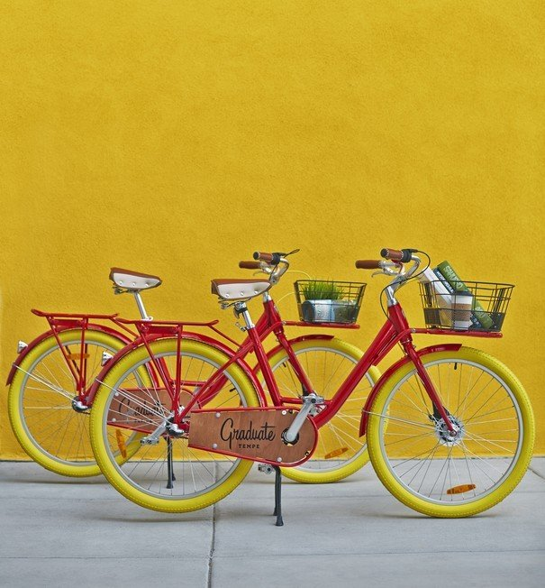 Graduate red bicycles