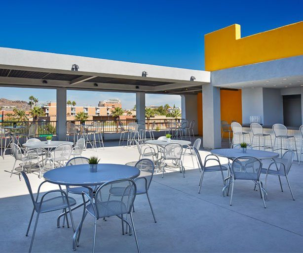 Rooftop dining area of Graduate Tempe