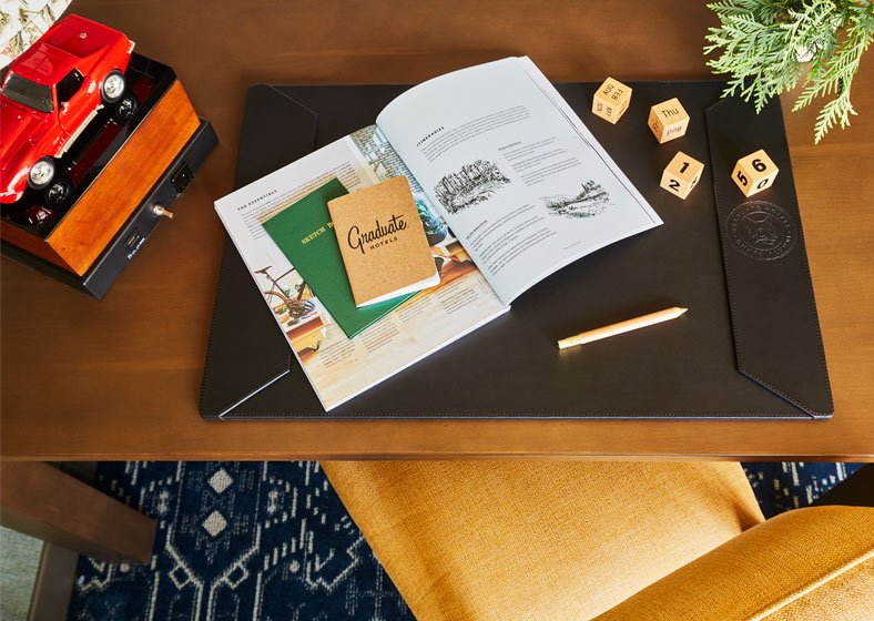 working desk in a guest room