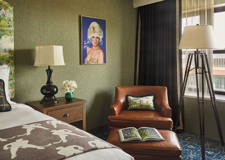 corner leather chair in graduate minneapolis guest room