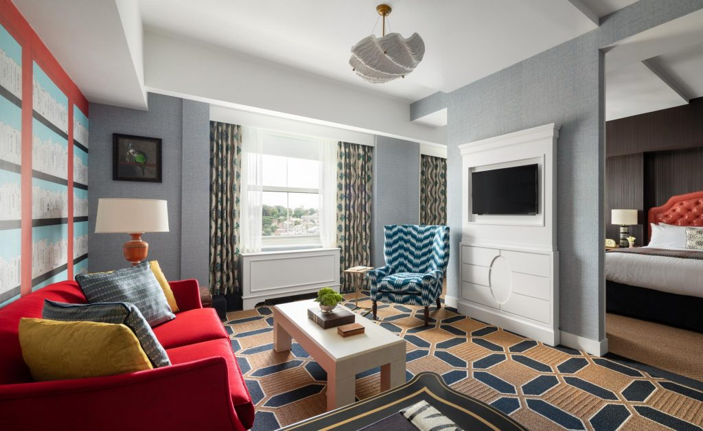 Colorful guestroom design at Graduate Providence