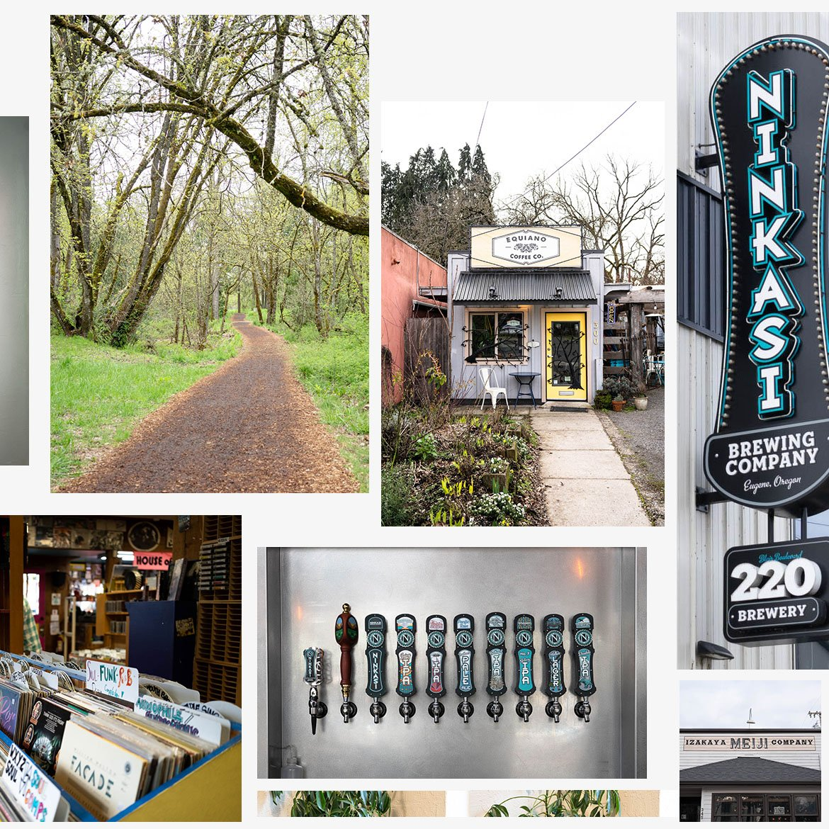 Collage of images from Eugene, Oregon.