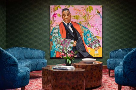 Portrait of André Leon Talley in the Graduate Providence lobby