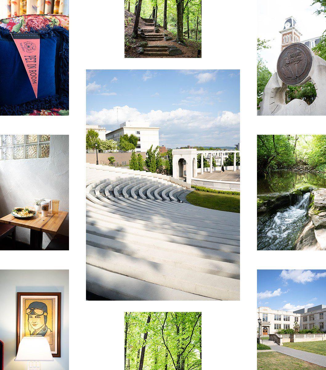 Collage of photos showcasing Fayetteville, Arkansas