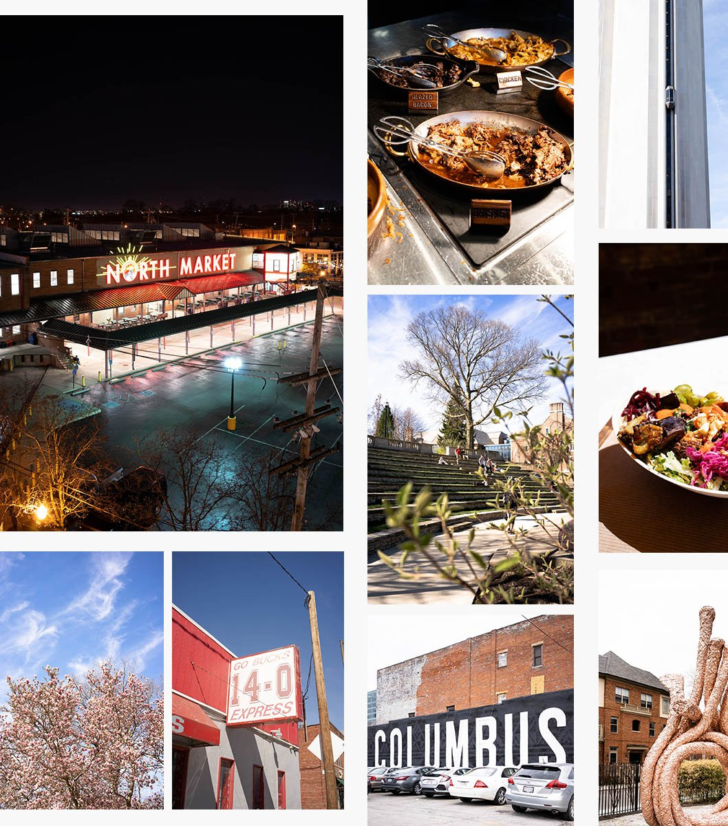 Collage of photos showcasing Columbus, Ohio