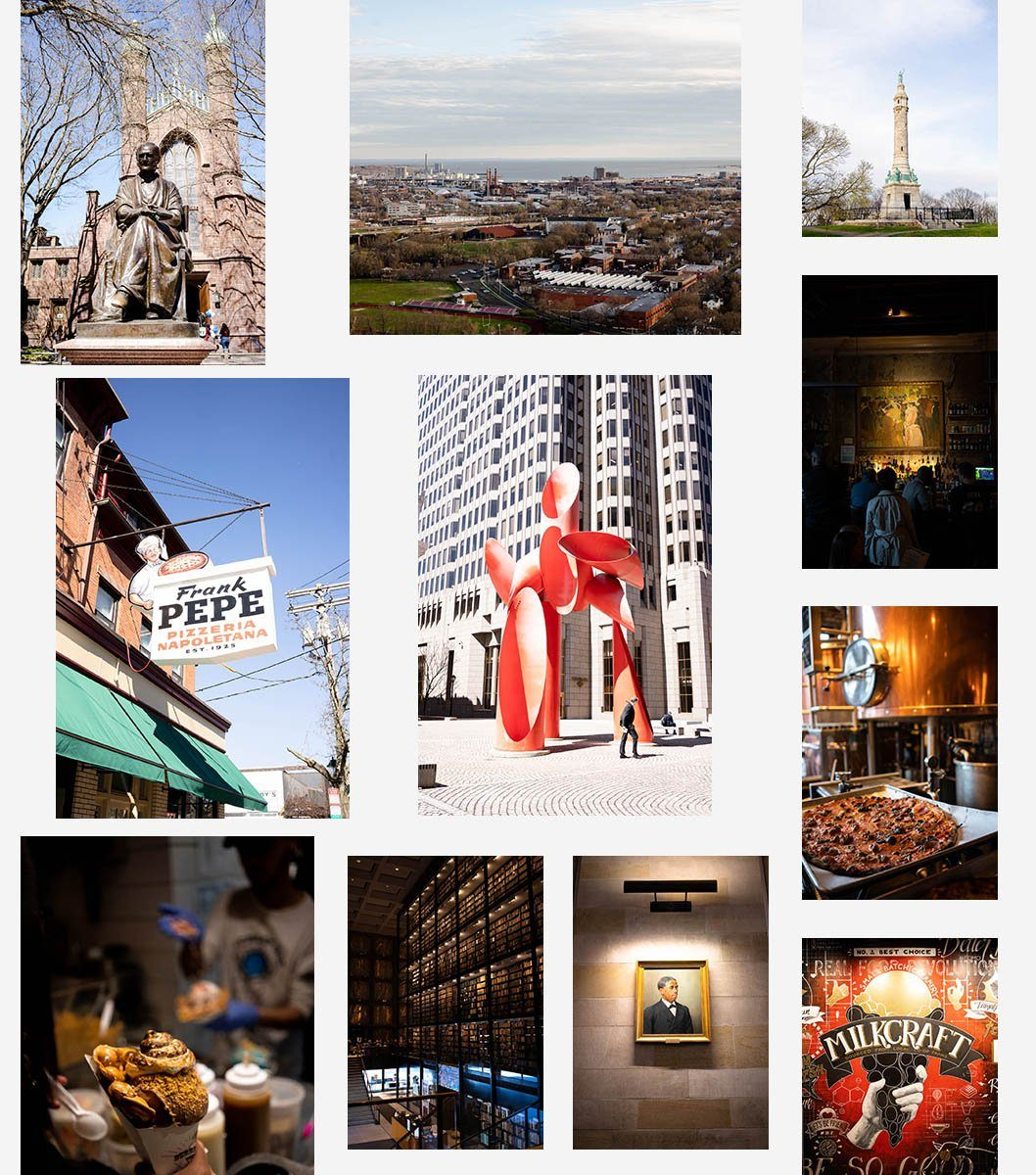 Collage of photos showcasing New Haven, CT