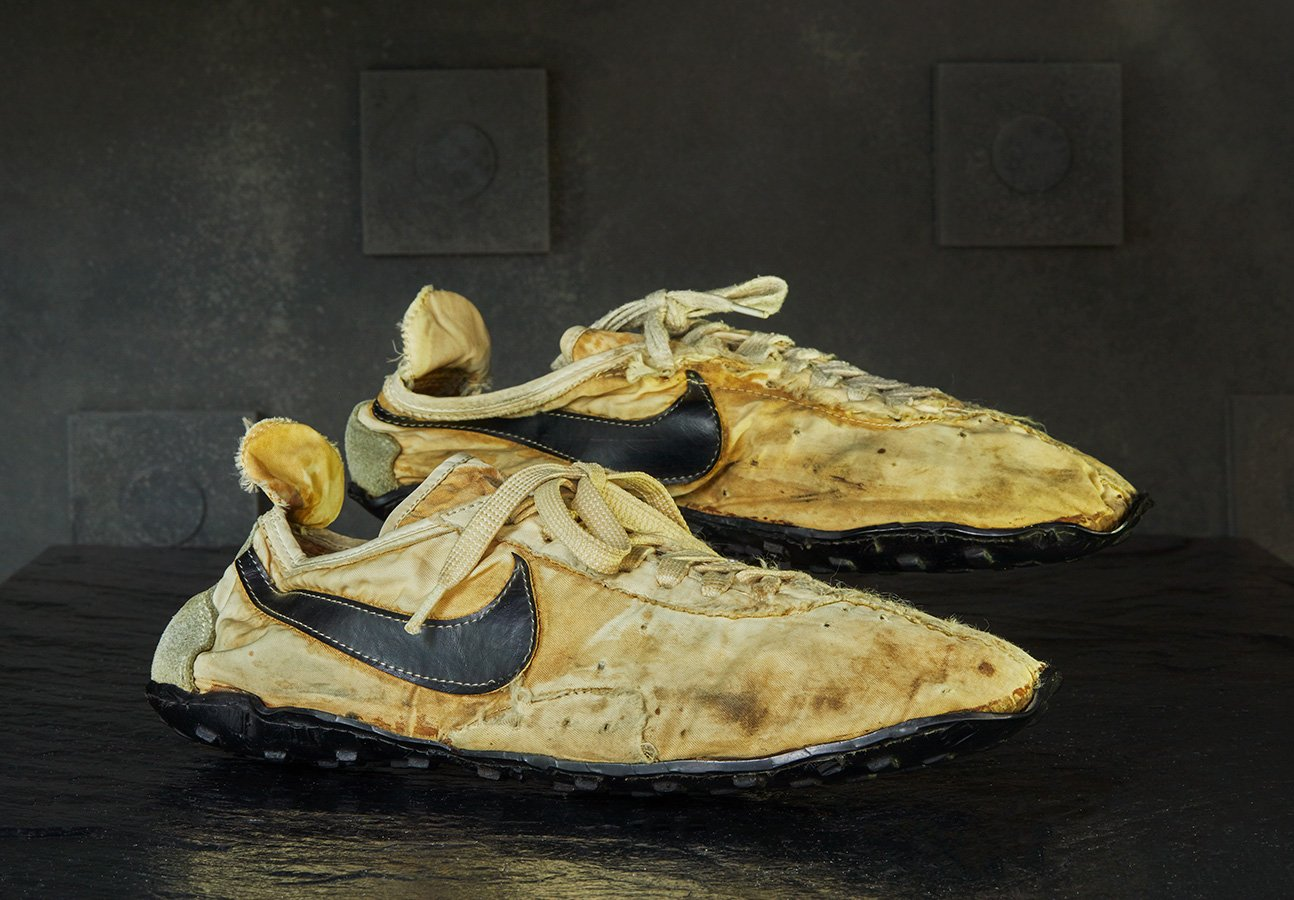 A pair of Nike Moon Shoes made in 1972.