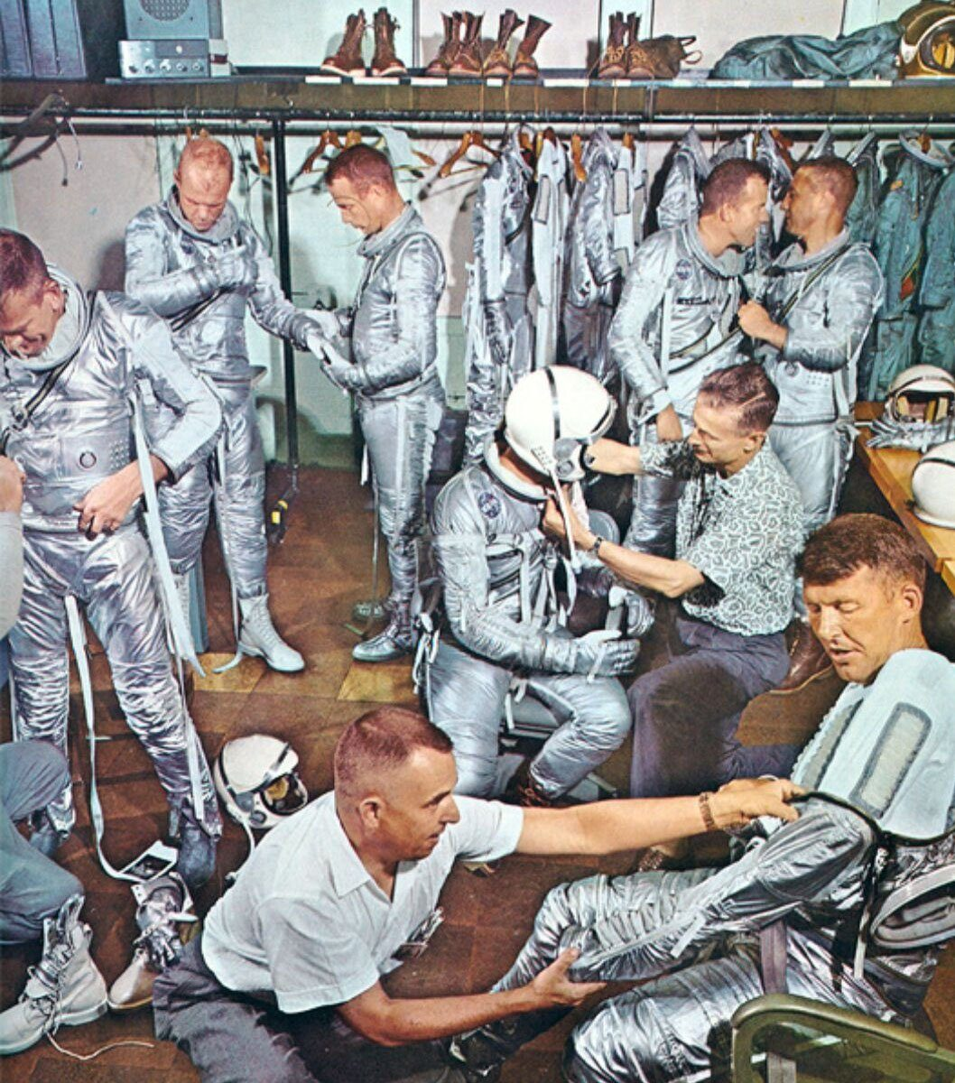 Vintage photo of NASA spacesuits