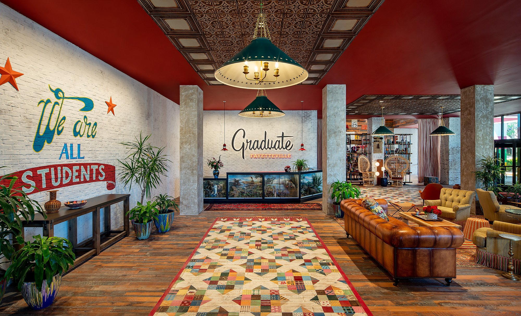 The lobby at Graduate Fayetteville hotel