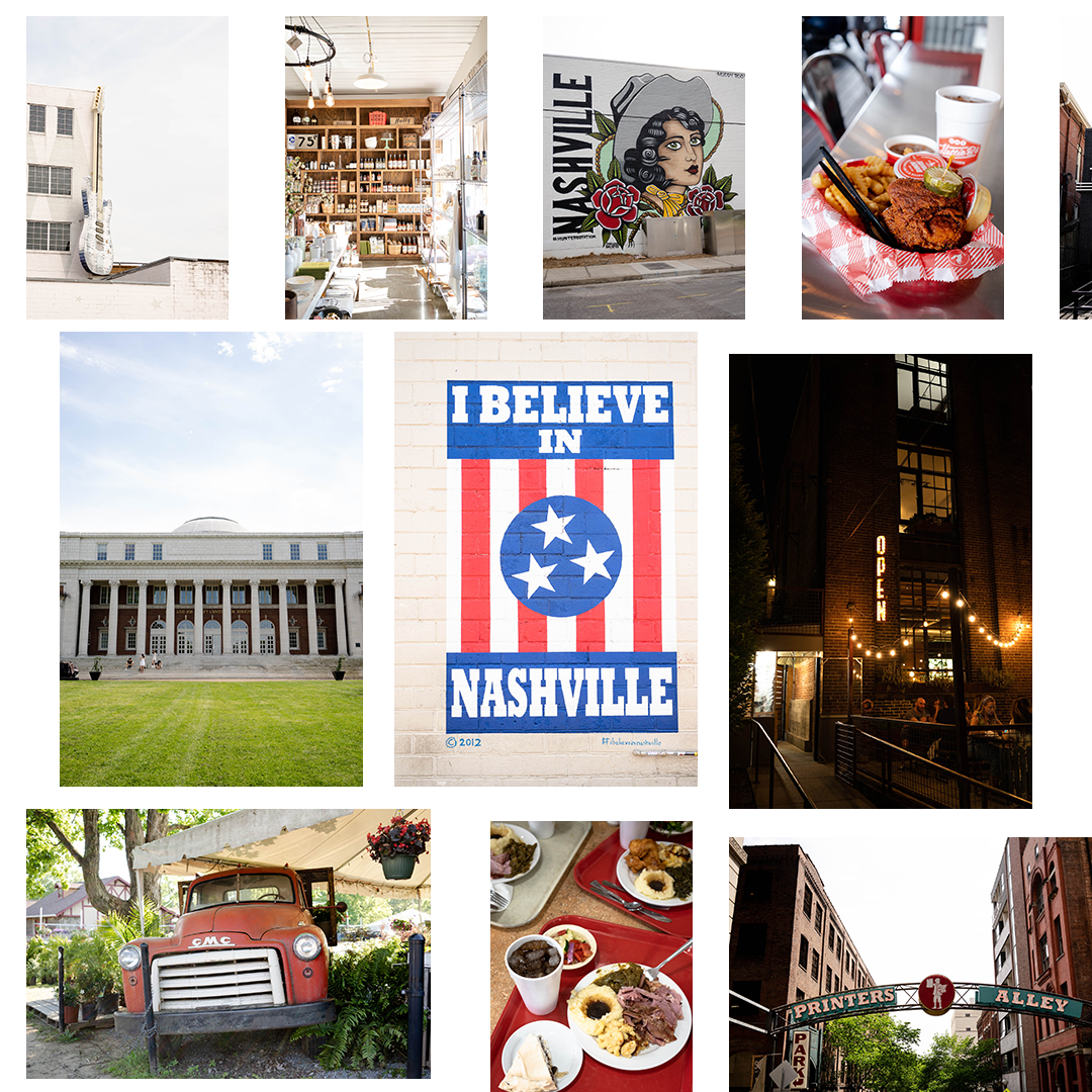 Collage of photos showcasing Nashville, Tennessee