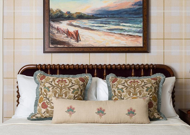 A headboard and painting