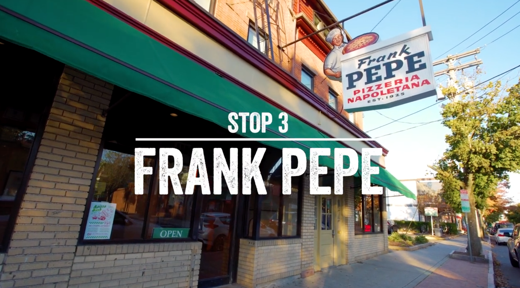 Exterior of Frank Pepe pizza in New Haven