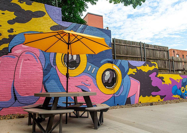 A brightly colored outdoor mural