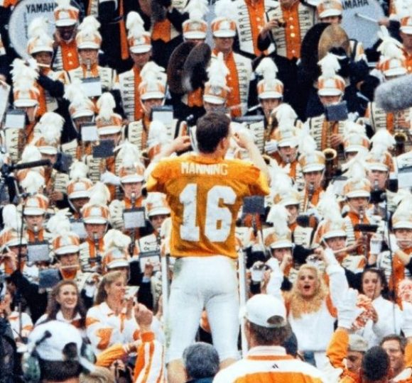 Peyton Manning directing the band at University of Tennessee